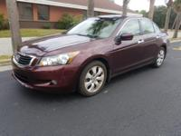 Clean CARFAX. Basque Red Pearl 2010 Honda Accord EX-L