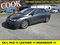 Gray 2010 Honda Civic EX-L FWD Compact 5-Speed