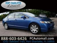 Clean CARFAX. Atomic Blue Metallic 2010 Honda Civic LX