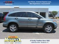 This 2010 Honda CR-V EX in Opal Sage Metallic is well
