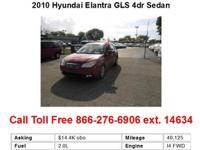2010 Hyundai Elantra GLS 4dr Sedan Sedan 4 Doors Blue