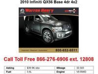 2010 Infiniti QX56 Base 4dr 4x2 SUV 4 Doors White RWD