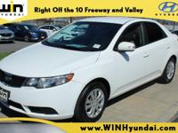 New Price! Clean CARFAX. Clear White 2010 Kia Forte EX