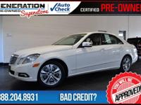 White and 2010 Mercedes-Benz E-Class. GPS Nav! Join us