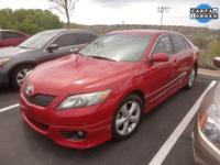 CARFAX One-Owner. Red 2010 Toyota Camry SE, FWD 2.5L I4