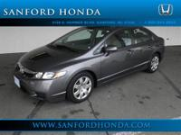 Civic LX 4D Sedan Compact 5-Speed Automatic and Gray.