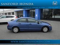 Civic VP Honda Certified 4D Sedan and Blue. Low Miles!
