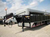 2011 28 x 6'8 Delta steel stock trailer, canvas top,