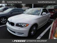 WHITE exterior, 128i trim. CARFAX 1-Owner. CD Player,