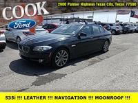 Jet Black 2011 BMW 5 Series 535i RWD 8-Speed Automatic