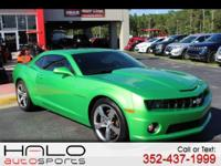2011 CHEVROLET CAMARO SS LIME GREEN WITH BLACK LEATHER