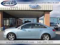 Clean CarFax. Chevy Cruze LT. Ice Blue Metallic Jet