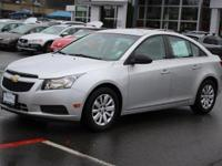 Clean CARFAX. Silver 2011 Chevrolet Cruze LS FWD