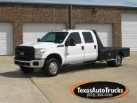 2011 FORD F350 CREWCAB DUALLY 4X4/SKIRTED J&I FLATBED.