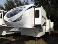 A 35' Fifth Wheel with four slide-outs, fireplace and a