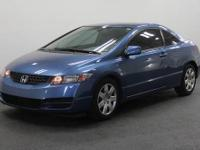 Civic LX, 2D Coupe, Blue, and CERTIFIED. Perfect Color