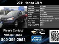 Call Nelson Honda at  Stock #: H12891 Year: 2011 Make: