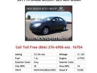 2011 Hyundai Accent GLS 4dr Sedan Sedan Gray I4 1.6L