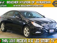 Clean CARFAX Phantom Black Metallic 2011 Hyundai Sonata