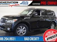 Black Obsidian and 2011 Infiniti QX56. 4WD! GPS Nav! If