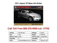 2011 Jaguar XF Base 4dr Sedan Sedan 4 Doors Blue RWD V8
