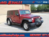 Wrangler Unlimited Sport, Automatic, and 4WD. Red and