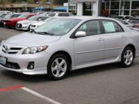 Clean CARFAX. Silver 2011 Toyota Corolla S FWD 4-Speed