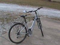 "Silver and Black, 24 speed, 16"" womens frame, shocks,"