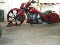 30 INCH PAINTED BURGUNDY AND BLACK FRONT RIM BY MADD