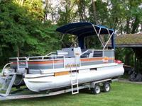 ,.,.,18 foot Pontoon boat with a brand new Tandem