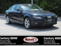 1 Owner, Clean Carfax! This 2012 Audi A4 is Black with