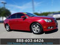 Clean CARFAX. Crystal Red Tint 2012 Chevrolet Cruze 1LT