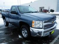 This Blue 2012 Chevrolet Silverado 1500 is powered by a