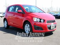 Sonic 2LT, 4D Hatchback, and 6-Speed Automatic. Red and