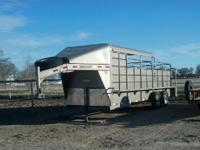 2012 Delco 6x20 half top stock trailer with walk in
