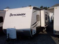 A 25' trailer with a slide, rear bathroom and front