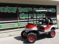 2012 EZGO RXV Golf Cart with Custom Red & Silver