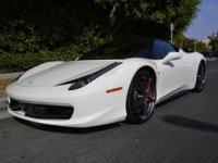 Here is a 2012 Ferrari 458 Italia in a gorgeous Bianco