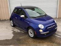 Clean CARFAX. Blue 2012 Fiat 500 Lounge FWD 6-Speed
