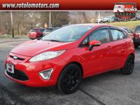 2012 Ford Fiesta SES  in Red and Clean Carfax.