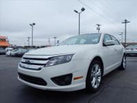 2012 FORD FUSION... PRETTY WHITE / TAN CLOTH ... ALLOY