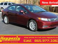 Clean CARFAX. This 2012 Honda Civic EX in Crimson Pearl