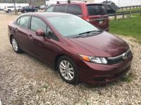 2012 Honda Civic EX Maroon Cloth. Odometer is 33148