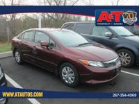 Clean CARFAX. Certified. 2012 Honda Civic LX FWD