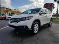 Clean CARFAX. White Diamond Pearl 2012 Honda CR-V EX-L