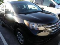 Clean CARFAX. Crystal Black Pearl 2012 Honda CR-V LX
