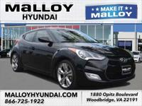 Clean CARFAX. Ultra Black 2012 Hyundai Veloster w/Red