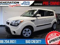 White and 2012 Kia Soul. Don't let the miles fool you!