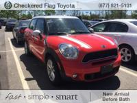 Clean CARFAX. Pure Red 2012 MINI Cooper S Countryman