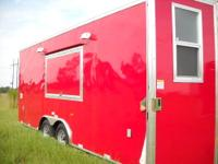 8.5 x 24' Concession Trailer - red exterior - customer